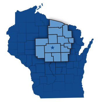 blue map of the state of Wisconsin with a star icon denoting the location of the city of Wausau