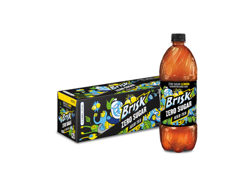 Brisk Zero Sugar bottle and 12-pack of cans