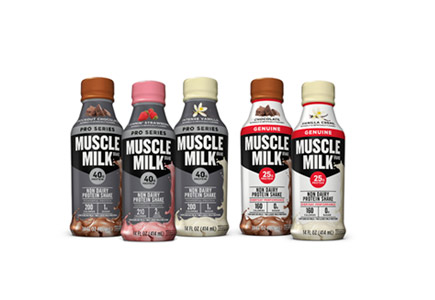 five Muscle Milk bottles