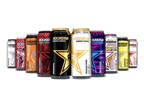 10 different Rockstar Energy Drink cans