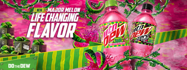 New Major Melon Life Changing Flavor. Mountain Dew Major Melon and Major Melon Zero Sugar. Do the Dew.