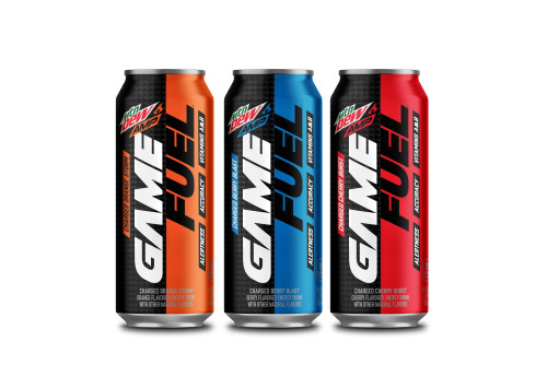 three Mountain Dew AMP Game Fuel cans