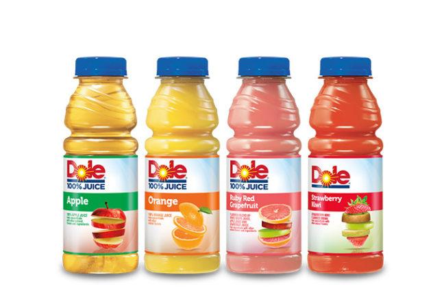 Dole Single Serve 100% Juice bottles