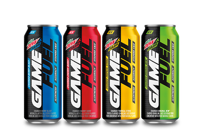 Mountain Dew AMP Game Fuel cans