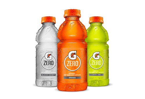 Three Gatorade Zero plastic product bottles of varying flavors