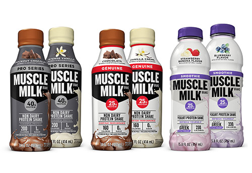 Six Muscle Milk plastic product bottles of varying flavors
