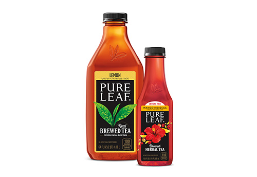 Large and small Pure Leaf Tea product bottles