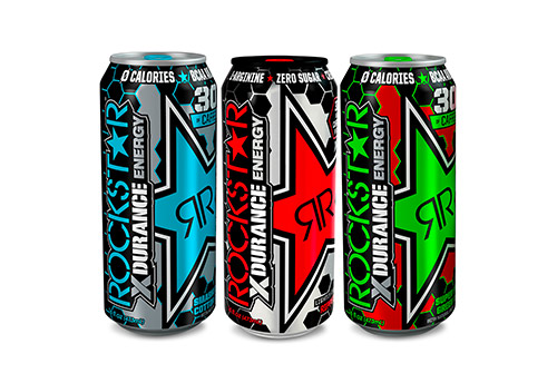 Three Rockstar Xdurance product cans of varying flavors