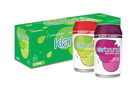 Klarbrunn 12-pack box and two cans