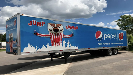The 2019 Mid-Wisconsin Beverage Pepsi / Bucky trailer wrap.