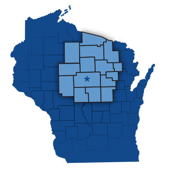 Mid-Wisconsin Beverage coverage area map
