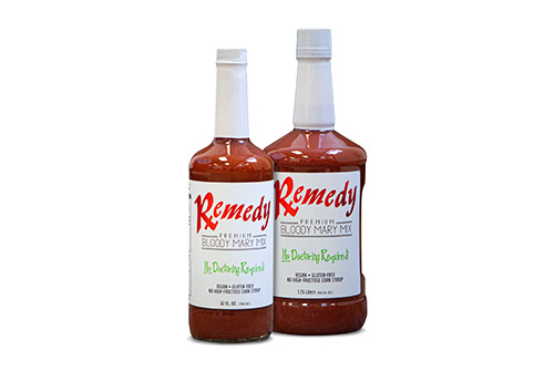 two Remedy Bloody Mary Mix bottles