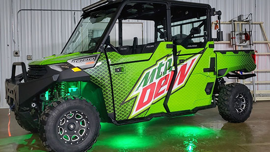 Mountain Dew branded Polaris utility vehicle