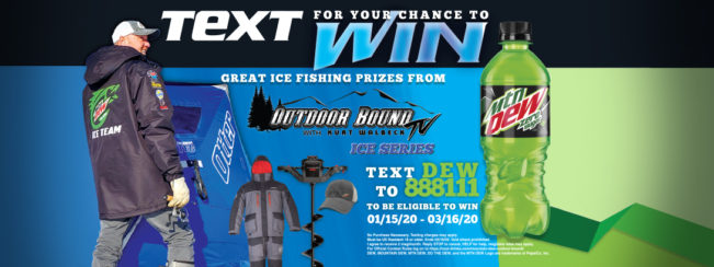 Text DEW to 888111 for your chance to win great ice fishing prizes from Outdoor Bound TV