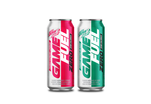 two Mountain Dew AMP Game Fuel Zero cans