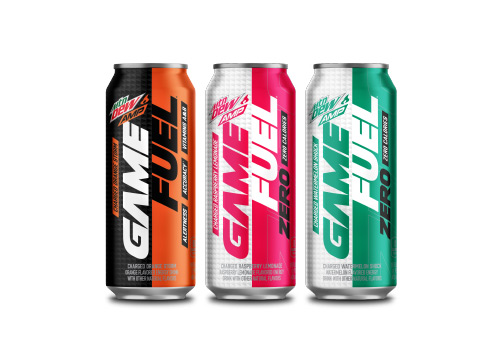 one Mountain Dew AMP Game Fuel can next to two Mountain Dew AMP Game Fuel Zero canas