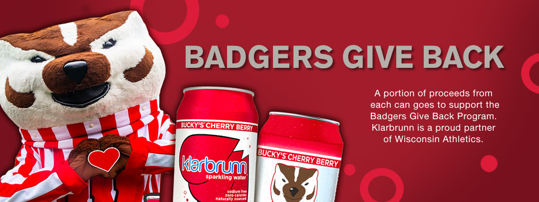 Badgers Give Back. A portion of proceeds from each can goes to support the Badgers Give Back Program. Klarbrunn is a proud partner of Wisconsin Athletics.