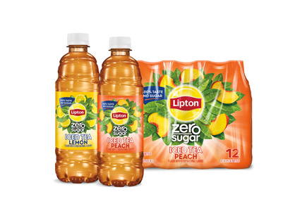 two Lipton Zero Sugar bottles and a case