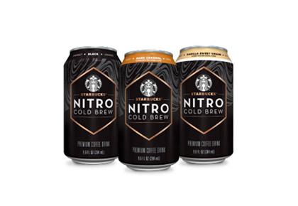 three Starbucks Nitro Cold Brew cans