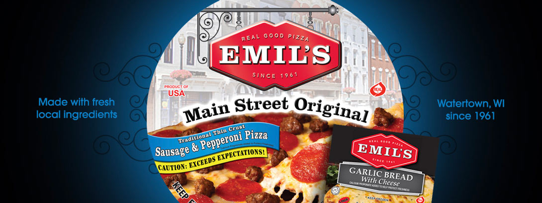 Emil's Main Street Original Pizza. Made with fresh local ingredients. Watertown, WI since 1961.