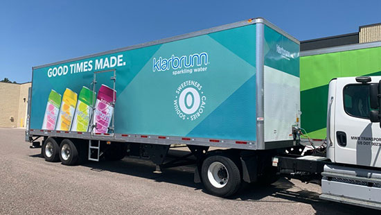 Mid-Wisconsin Beverage Klarbrunn semi trailer wrap.
