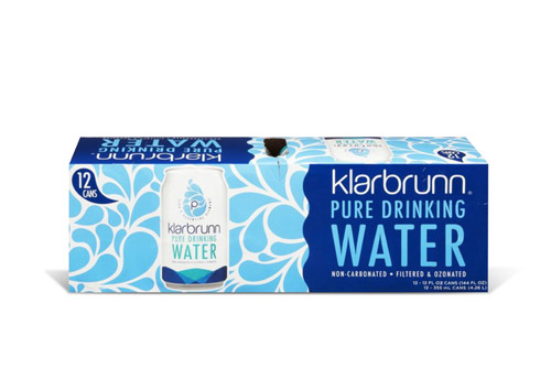 Klarbrunn canned drinking water 12-pack product box