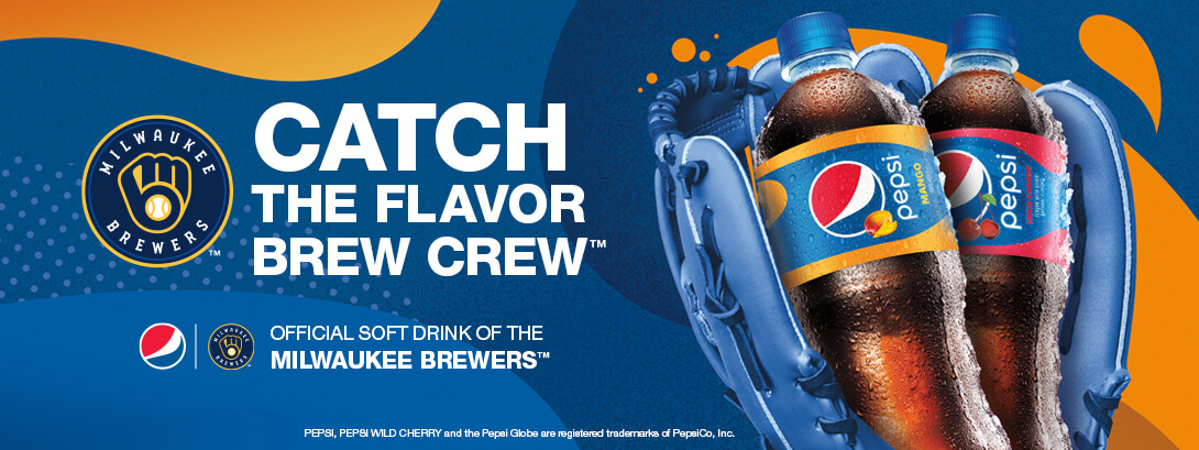 Catch the Flavor Brew Crew. Pepsi. Official Soft Drink of the Milwaukee Brewers.